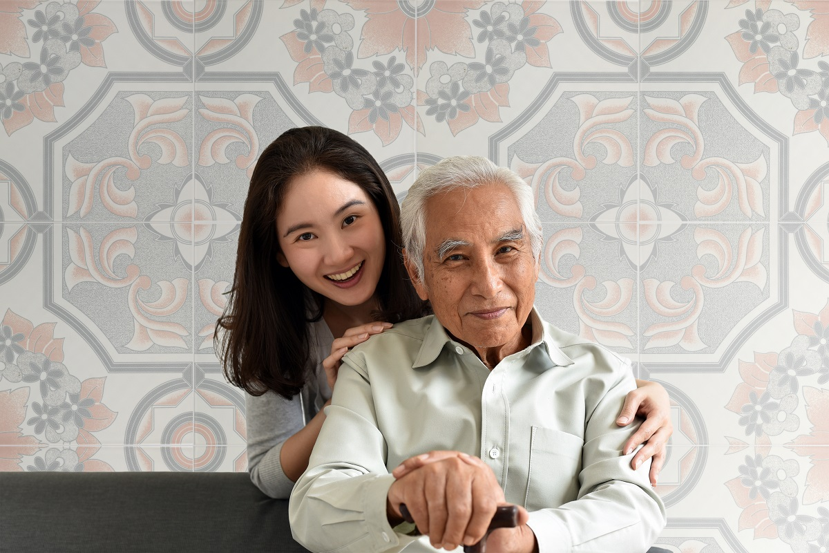Asian senior father and smiling daughter, Happy family relations