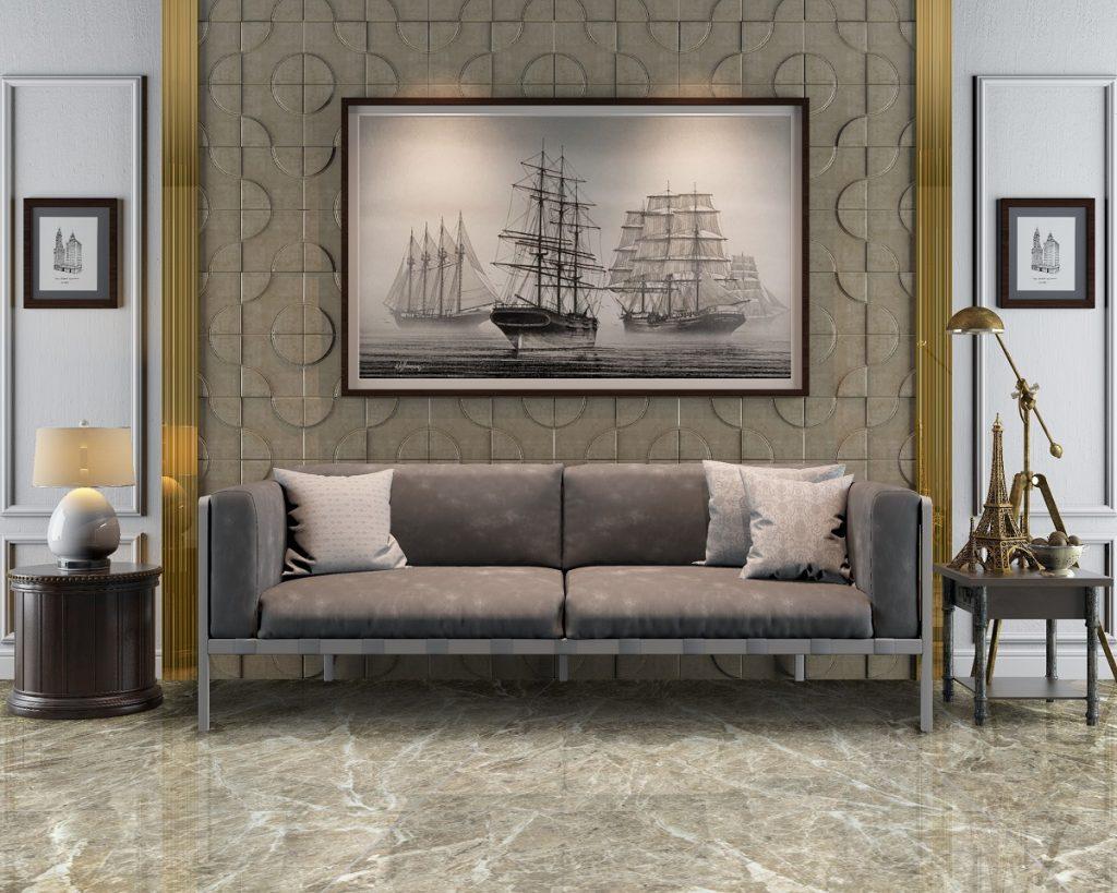 3d rendering living room sofa background