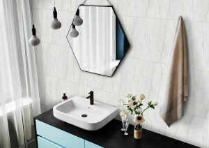 Interior of a modern bathroom with a hexagonal mirror and mosaic walls. 3d rendering