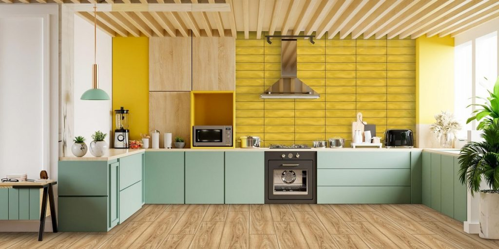 Wood-Look Finish with Bright Yellow
