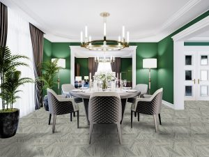 Luxurious dining room in a large house, with a round table for s