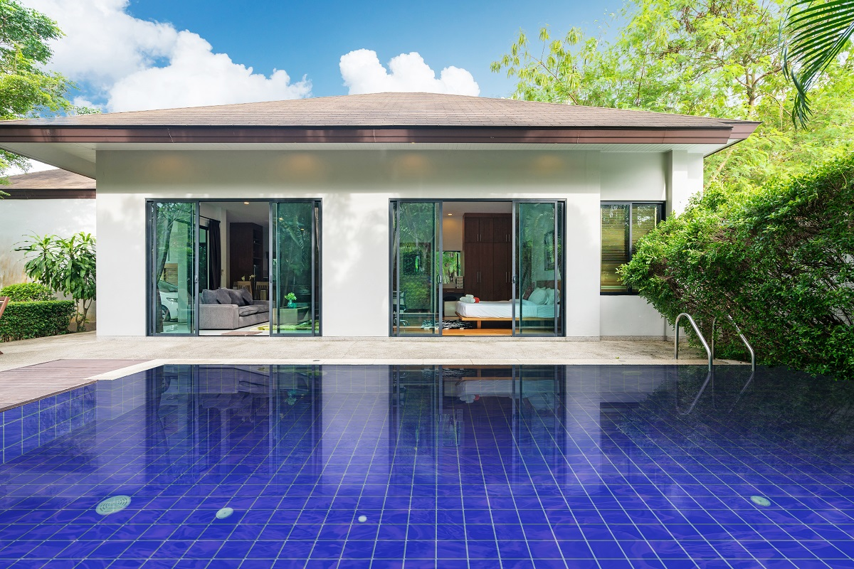 Exterior design of house, home and villa feature swimming pool,
